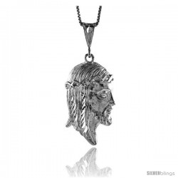 Sterling Silver Jesus Pendant, 1 1/2 in -Style 4p164