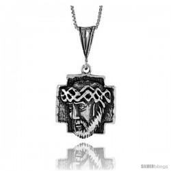 Sterling Silver Jesus Pendant, 7/8 in
