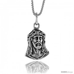 Sterling Silver Jesus Pendant, 3/4 in -Style 4p172