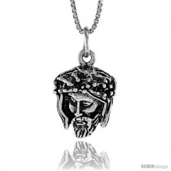 Sterling Silver Jesus Pendant, 3/4 in -Style 4p174