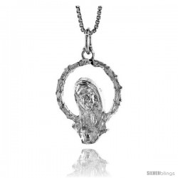Sterling Silver Mother Mary Pendant, 7/8 in