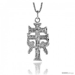 Sterling Silver Carabaca Cross Pendant, 1 1/4 in -Style 4p179