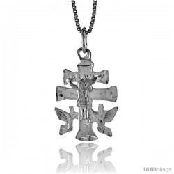 Sterling Silver Carabaca Cross Pendant, 7/8 in