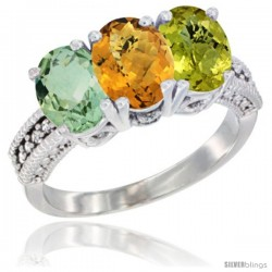 14K White Gold Natural Green Amethyst, Whisky Quartz & Lemon Quartz Ring 3-Stone 7x5 mm Oval Diamond Accent