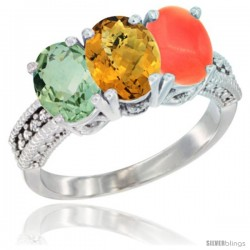 14K White Gold Natural Green Amethyst, Whisky Quartz & Coral Ring 3-Stone 7x5 mm Oval Diamond Accent