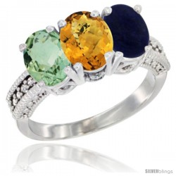 14K White Gold Natural Green Amethyst, Whisky Quartz & Lapis Ring 3-Stone 7x5 mm Oval Diamond Accent