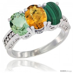 14K White Gold Natural Green Amethyst, Whisky Quartz & Malachite Ring 3-Stone 7x5 mm Oval Diamond Accent