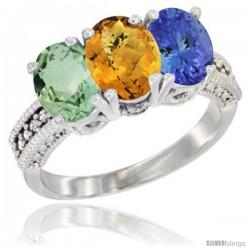 14K White Gold Natural Green Amethyst, Whisky Quartz & Tanzanite Ring 3-Stone 7x5 mm Oval Diamond Accent