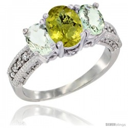 14k White Gold Ladies Oval Natural Lemon Quartz 3-Stone Ring with Green Amethyst Sides Diamond Accent