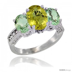 14K White Gold Ladies 3-Stone Oval Natural Lemon Quartz Ring with Green Amethyst Sides Diamond Accent