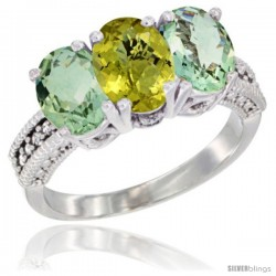 14K White Gold Natural Lemon Quartz & Green Amethyst Sides Ring 3-Stone 7x5 mm Oval Diamond Accent