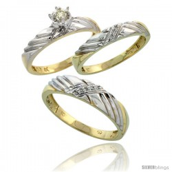 10k Yellow Gold Diamond Trio Wedding Ring Set His 5mm & Hers 3.5mm -Style 10y118w3