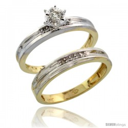 10k Yellow Gold Ladies' 2-Piece Diamond Engagement Wedding Ring Set, 1/8 in wide -Style 10y119e2