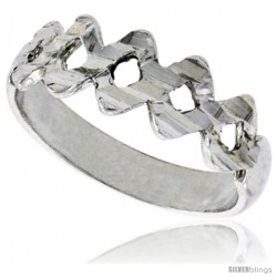 Sterling Silver Small Zigzag Ring Polished finish finish 1/4 in wide