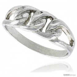 Sterling Silver Small Curb Link Chain Ring Polished finish finish 1/4 in wide