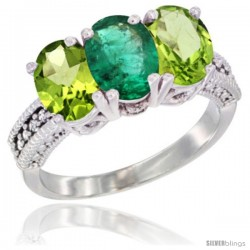 14K White Gold Natural Emerald & Peridot Sides Ring 3-Stone Oval 7x5 mm Diamond Accent