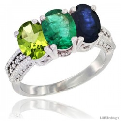14K White Gold Natural Peridot, Emerald & Blue Sapphire Ring 3-Stone Oval 7x5 mm Diamond Accent