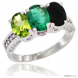 14K White Gold Natural Peridot, Emerald & Black Onyx Ring 3-Stone Oval 7x5 mm Diamond Accent