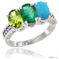 14K White Gold Natural Peridot, Emerald & Turquoise Ring 3-Stone Oval 7x5 mm Diamond Accent
