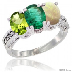 14K White Gold Natural Peridot, Emerald & Opal Ring 3-Stone Oval 7x5 mm Diamond Accent