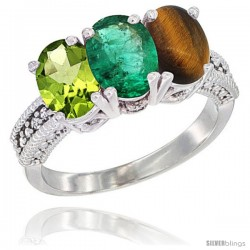14K White Gold Natural Peridot, Emerald & Tiger Eye Ring 3-Stone Oval 7x5 mm Diamond Accent