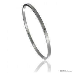 Stainless Steel 3 mm Flat Slip on Bangle Bracelet Seamless Stackable