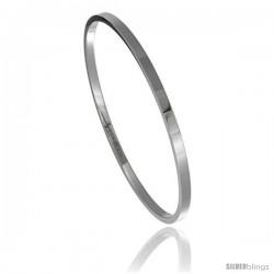 Stainless Steel 3 mm Flat Slip on Bangle Bracelet Seamless Stackable