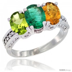 14K White Gold Natural Peridot, Emerald & Whisky Quartz Ring 3-Stone Oval 7x5 mm Diamond Accent