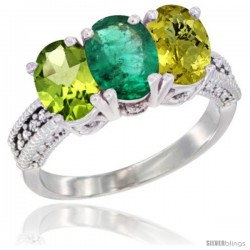 14K White Gold Natural Peridot, Emerald & Lemon Quartz Ring 3-Stone Oval 7x5 mm Diamond Accent