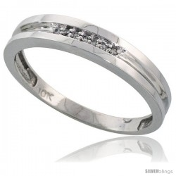 10k White Gold Mens Diamond Wedding Band Ring 0.04 cttw Brilliant Cut, 5/32 in wide
