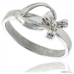 Sterling Silver Dainty Bow Ring 5/16 in wide