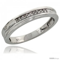 10k White Gold Ladies Diamond Wedding Band Ring 0.03 cttw Brilliant Cut, 1/8 in wide -Style 10w020lb
