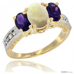 14k Yellow Gold Ladies Oval Natural Opal 3-Stone Ring with Amethyst Sides Diamond Accent