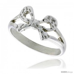 Sterling Silver Dainty Bow Ring Polished finish finish 5/16 in wide