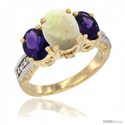 14K Yellow Gold Ladies 3-Stone Oval Natural Opal Ring with Amethyst Sides Diamond Accent