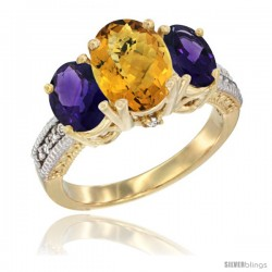 14K Yellow Gold Ladies 3-Stone Oval Natural Whisky Quartz Ring with Amethyst Sides Diamond Accent