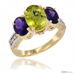 14K Yellow Gold Ladies 3-Stone Oval Natural Lemon Quartz Ring with Amethyst Sides Diamond Accent