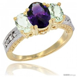 14k Yellow Gold Ladies Oval Natural Amethyst 3-Stone Ring with Green Amethyst Sides Diamond Accent