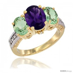 14K Yellow Gold Ladies 3-Stone Oval Natural Amethyst Ring with Green Amethyst Sides Diamond Accent