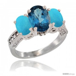 10K White Gold Ladies Natural London Blue Topaz Oval 3 Stone Ring with Turquoise Sides Diamond Accent