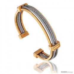 High Quality Stainless Steel Cuff Bangle, 2-Tone, Yellow & Silver, 10mm (3/8 in) wide