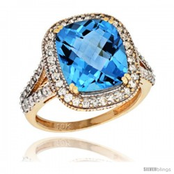 10k Yellow Gold Diamond Halo Swiss Blue Topaz Ring Checkerboard Cushion 12x10 4.8 ct 3/4 in wide