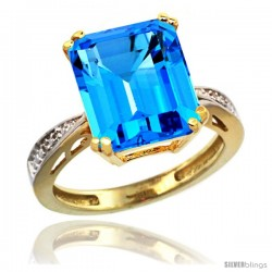 10k Yellow Gold Diamond Swiss Blue Topaz Ring 5.83 ct Emerald Shape 12x10 Stone 1/2 in wide -Style Cy904149