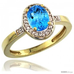 10k Yellow Gold Diamond Swiss Blue Topaz Ring 1 ct 7x5 Stone 1/2 in wide