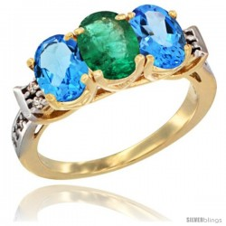 10K Yellow Gold Natural Emerald & Swiss Blue Topaz Sides Ring 3-Stone Oval 7x5 mm Diamond Accent