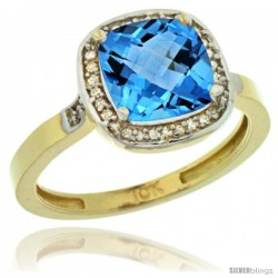 10k Yellow Gold Diamond Swiss Blue Topaz Ring 2.08 ct Checkerboard Cushion 8mm Stone 1/2.08 in wide