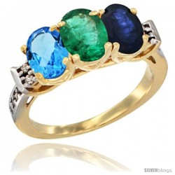 10K Yellow Gold Natural Swiss Blue Topaz, Emerald & Blue Sapphire Ring 3-Stone Oval 7x5 mm Diamond Accent