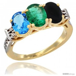 10K Yellow Gold Natural Swiss Blue Topaz, Emerald & Black Onyx Ring 3-Stone Oval 7x5 mm Diamond Accent