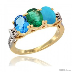 10K Yellow Gold Natural Swiss Blue Topaz, Emerald & Turquoise Ring 3-Stone Oval 7x5 mm Diamond Accent