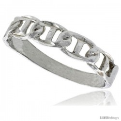 Sterling Silver Tiny Mariner Link Chain Ring Polished finish 3/16 in wide